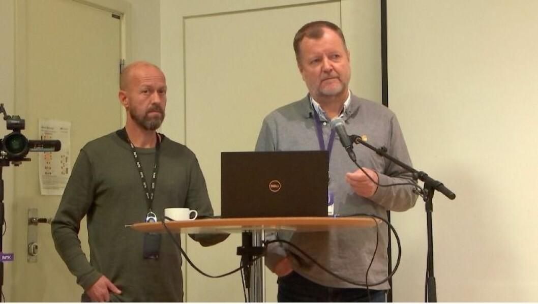 Per Arne Kalbakk og Charlo Halvorsen redegjorde i Kringkastingsrådet torsdag.