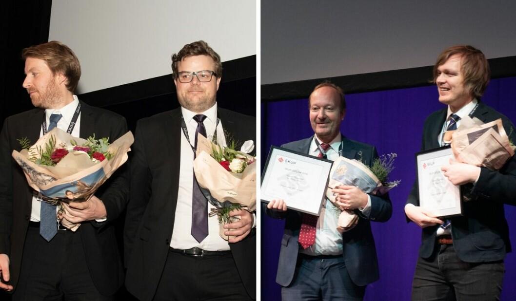 T.v.: Henning Carr Ekroll og Carl Alfred Dahl i Aftenposten. T.h: VGs Bjørnar Tommelstad og Ronny Berg