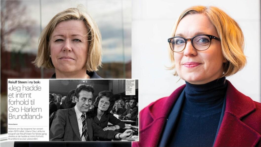 Nyheitsredaktør Tone Tveøy Strøm-Gundersen i Aftenposten og nyheitsredaktør Sarah Sørheim i NTB. Innfelt er Aftenposten-oppslag på papir 21. oktober.