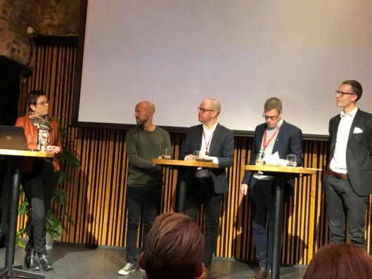 Paneldiskusjonen under Medietilsynets presentasjon av befolkningsundersøkelsen.