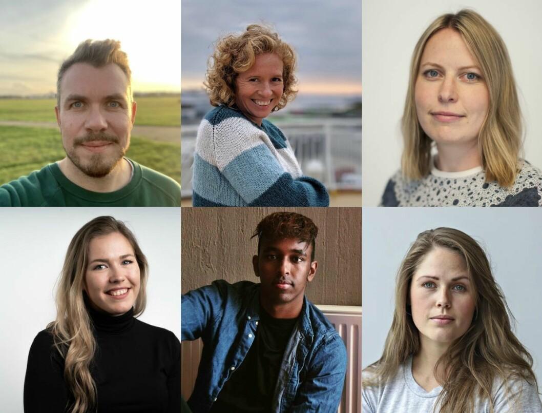 De nye Bergens Tidende-journalistene Simen Sundfjord Otterlei, Linda Hilland, Målfrid Bordvik, Marita Ramsvik, Hanad Ali, og Anne Rokkan.