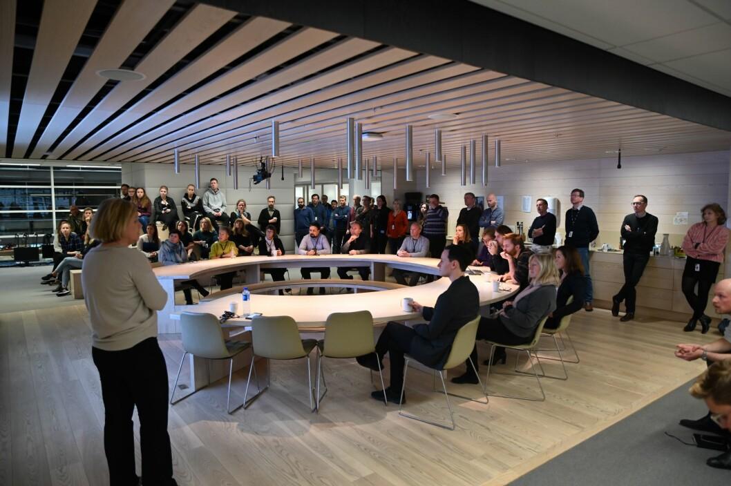 Store deler av Aftenpostens redaksjon var samlet under torsdagens allmøte.