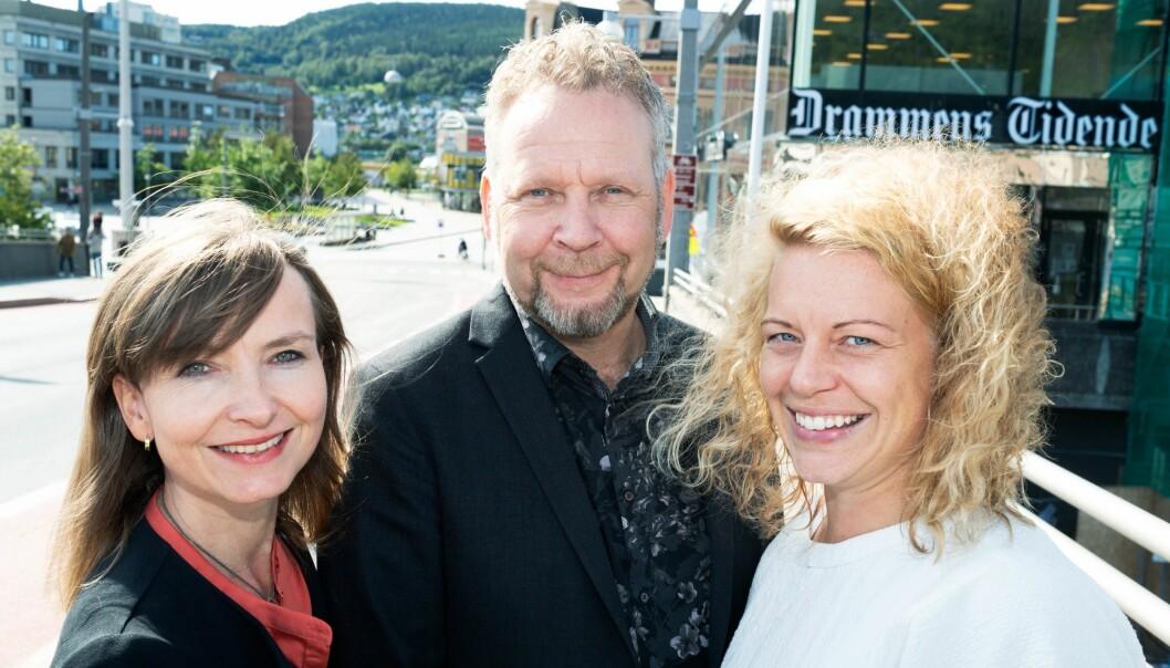 Redaktører i Drammens Tidende. Fra v: Hege Breen Bakken, politisk redaktør, Espen Sandli, ansvarlig redaktør og Janne Sundelius Braathen, nyhetsredaktør