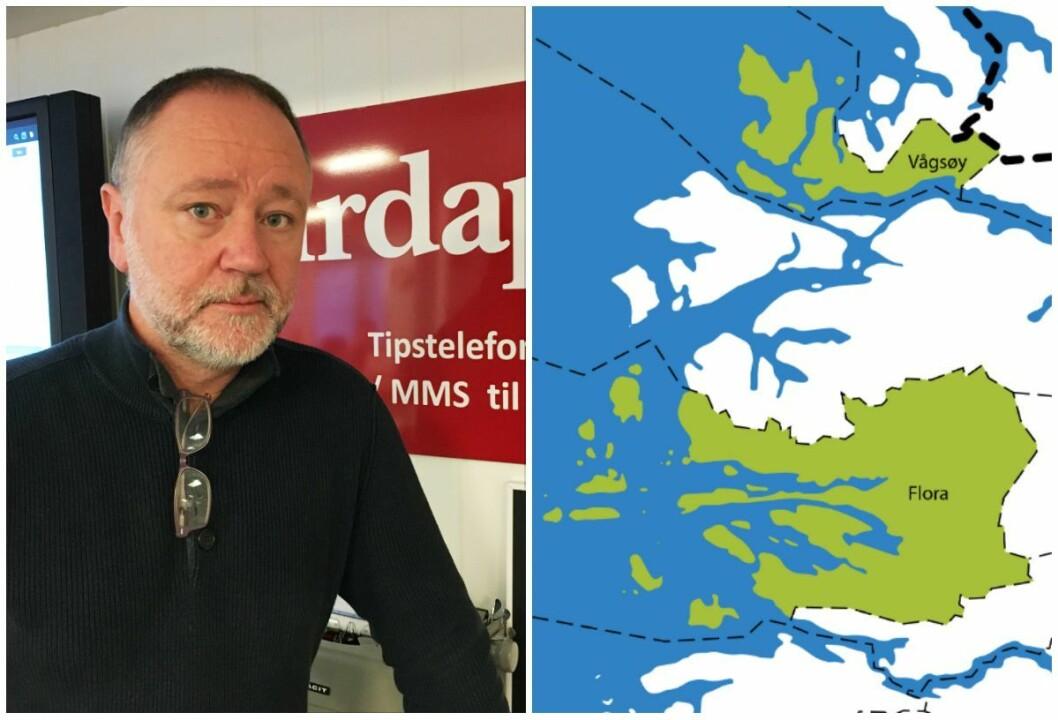 Redaktør i Firdaposten, Svend-Arne Vee og illustrajonskart over den nye kommunen Kinn.