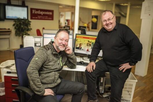 Redaktør i Firdaposten, Svend-Arne Vee (t.v.), og redaktør i Fjordenes Tidende, Erling Wåge, er budd på utfordringar når kommunane deira skal slåast saman frå 1. januar2020. Foto
