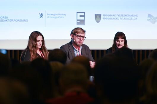 SVT-journalist Lina Makboul, #metoo-anklagede Fredrik Virtanen og debattleder Anki Gerhardsen.