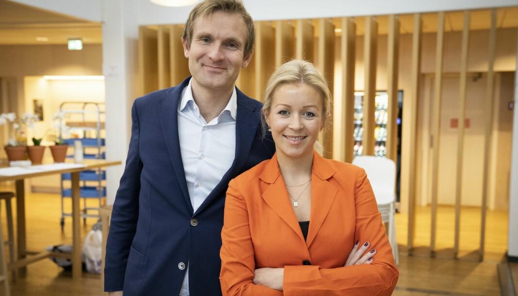Ida Barth Thomassen, administrerende direktør i E24 er fornøyd med nettavisens nye design. Her avbildet sammen med styreleder Christian Haneborg.