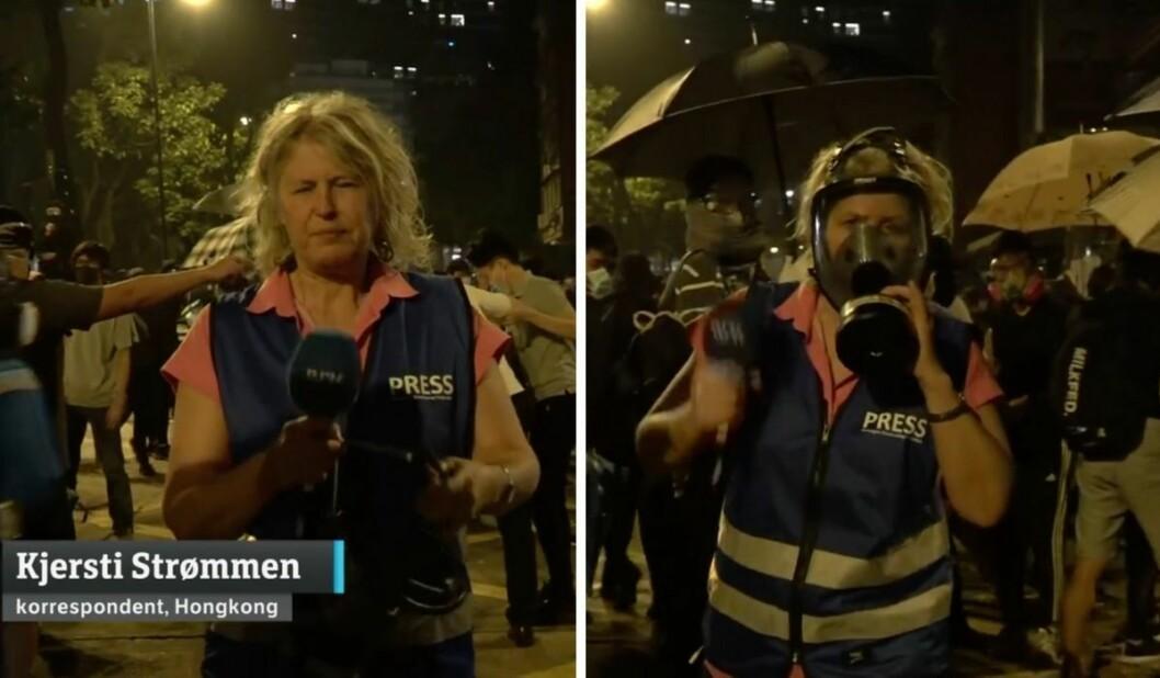 Kjersti Strømmen fikk tåregass i ansiktet og måtte ty til gassmaske under intervjuet på Dagsrevyen mandag.