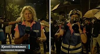 Her må NRK-korrespondent Kjersti Strømmen ta på gassmaske midt under intervju: – Det var helt vilt