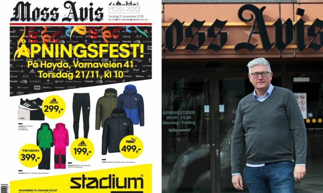 Skjermdump av Moss Avis 21. november 2019 og redaktør Pål Enghaug.