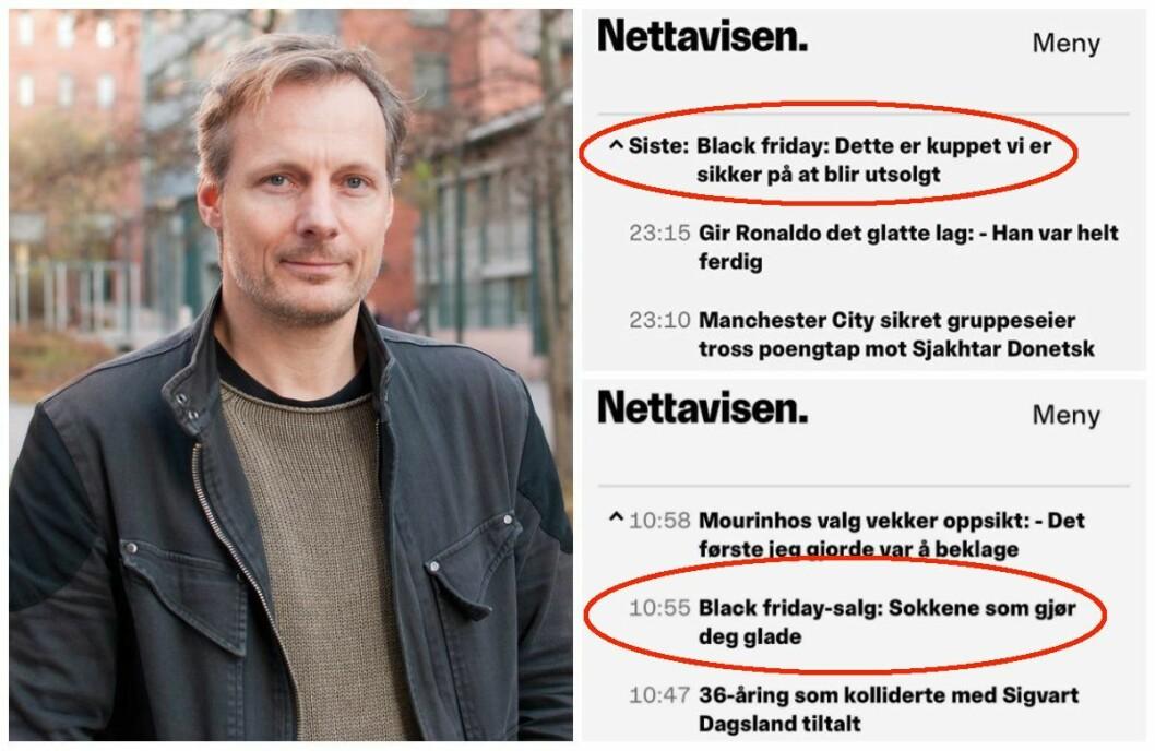 Steen Steensen ved OsloMet. Til høgre er «content marketing»-sakene til Nettavisen.