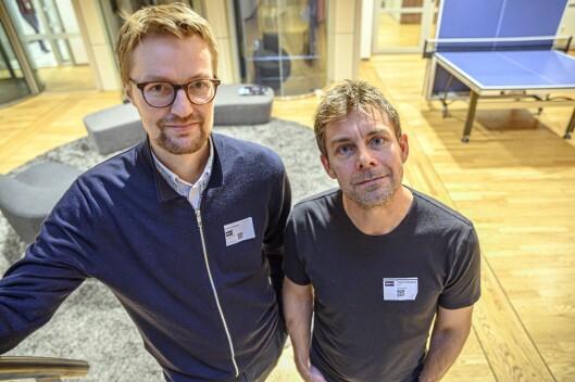 Økonomiredaktør Rune Endresen (til venstre) i Nordlys, her sammen med kollega Torkild Emberland.