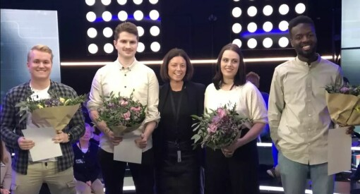 Masterstudentene Johnny, Vilde, Taume og Patrick fikk 100 000 kroner i TV 2-stipend