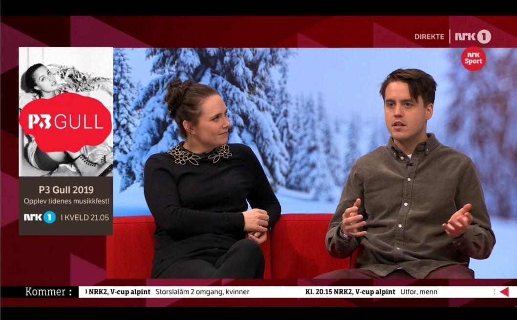 Sportsjournalist Ida Rasch i NRK og P3-programleiar Markus Neby.