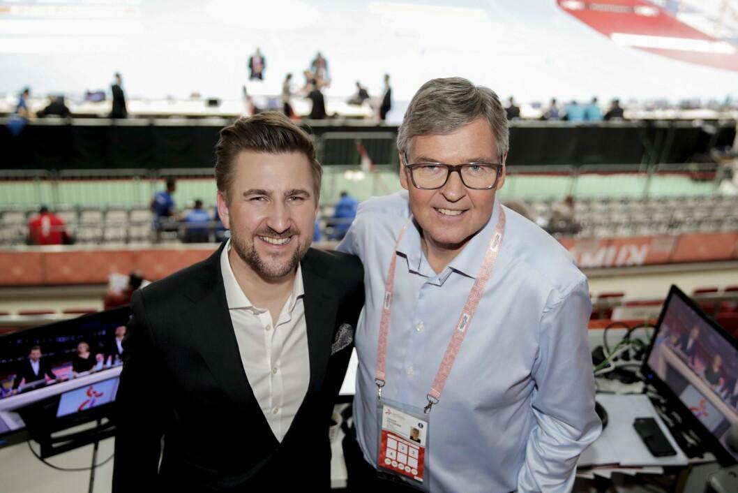 TV3-kommentator Daniel Høglund og Gunnar Pettersen i Aqua Dome Kumamoto.