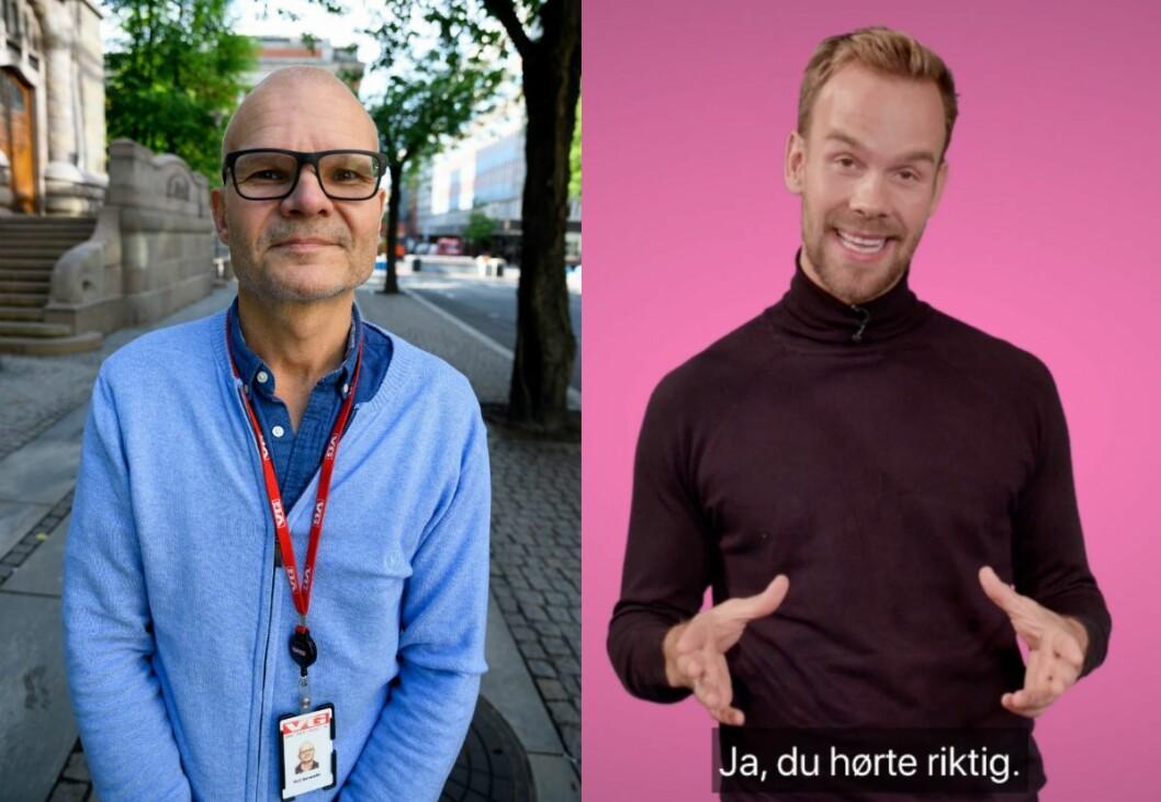 Rolf Sønstelie, redaktør i VGTV. Til høgre er programleiar Morten Hegseth.