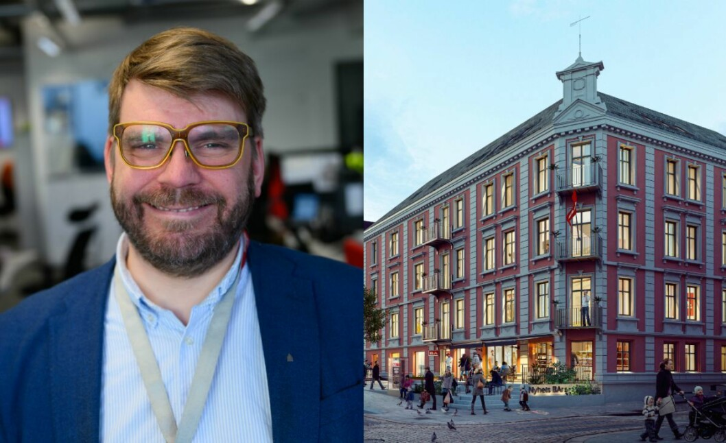 Sjefredaktør Sigvald Sveinbjørnsson i Bergensavisen. Til høgre illustrasjon av nye BA-lokale i Vestre Torggate.