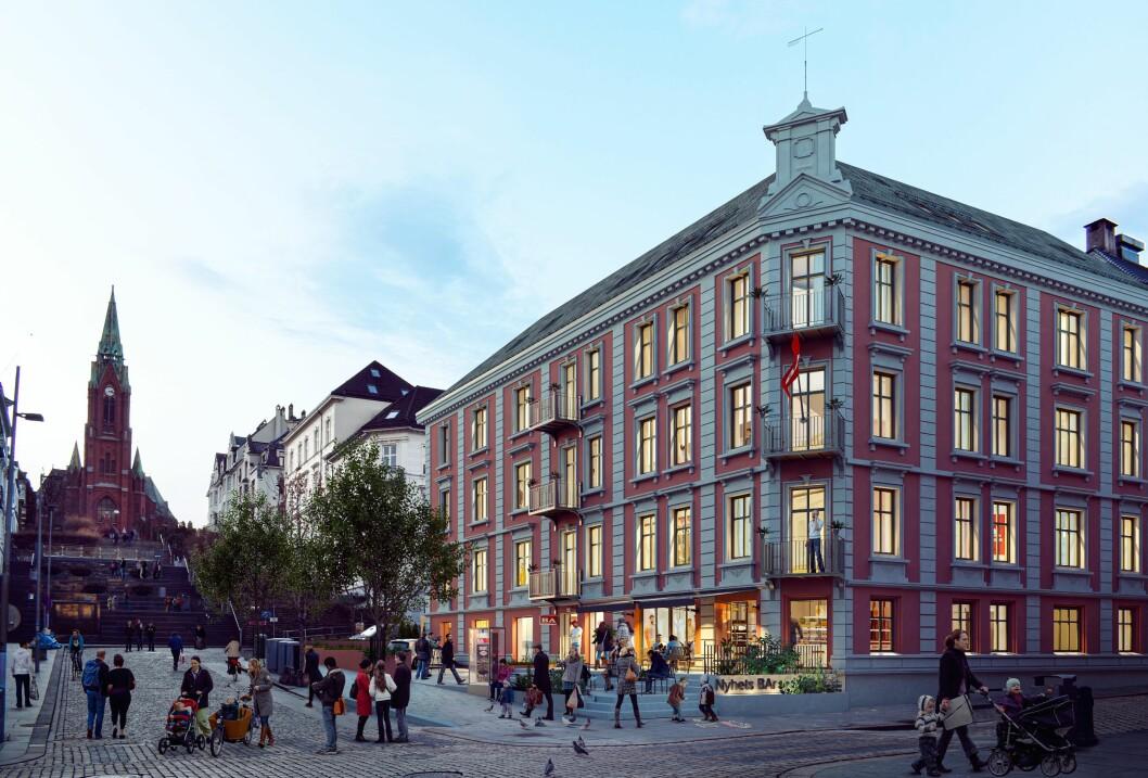 Bergensavisen sine framtidige lokale i Bergen sentrum. ILLUSTRASJON.
