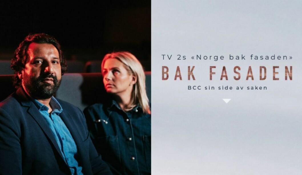 Janne Amble og Kadafi Zaman i TV 2-programmet «Norge bak fasaden». Til høyre er tad Christian Church sin egen «reportasje» om TV 2s fremstilling.