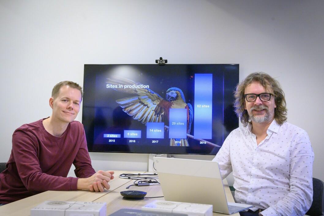 Teknologidirektør (CTO) Ole Andreas Flaaten Jonsgård og adm. dir (CEO) Jon Reidar Hammerfjeld i Publish Lab AS.