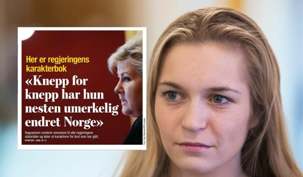 Mathilde Tybring-Gjedde (H) reagerer på Dagsavisens slakt av regjeringen.