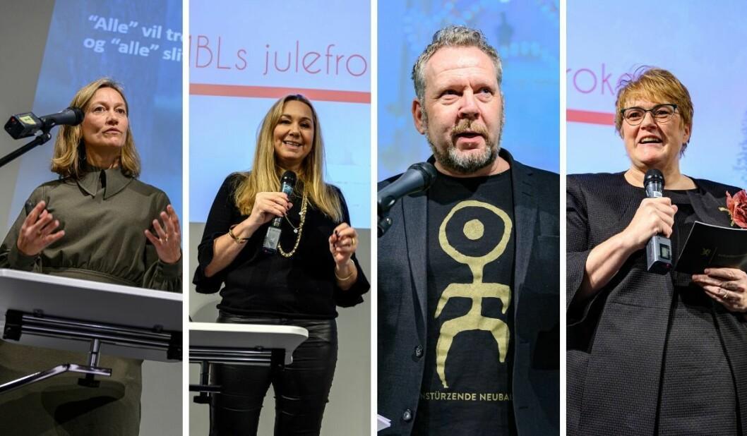 Siv Juvik Tveitnes (fra venstre), Tine Austvoll Jensen, Espen Sandli og Trine Skei Grande delte alle sine spådommer på MBLs julefrokost.