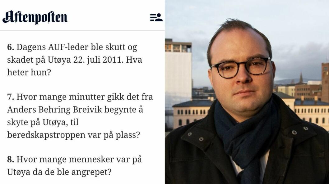 Aftenposten sin quiz til venstre. Til høgre er generalsekretær Sindre Lysø i AUF.