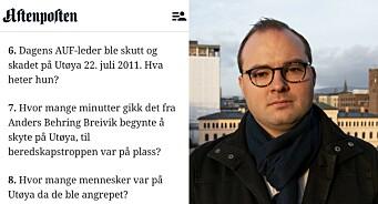 Sterke reaksjonar på Aftenposten sine quiz-spørsmål om 22. juli: – Ikkje særleg omtenksamt