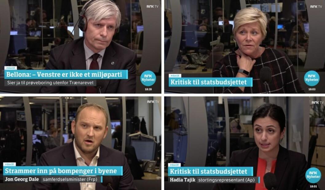 Klimaminister Ola Elvestuen, finansminister Siv Jensen, samferdselsminister Jon Georg Dale eller Arbeiderpartiets Hadia Tajik - hvem dukket opp i Dagsnytt 18 oftest i fjor?