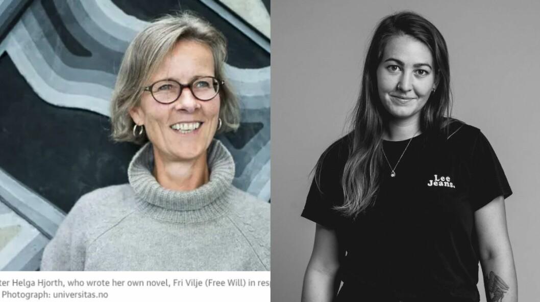 Til venstre er skjermdump av The Guardian-saka med bilete av Helga Hjorth. Til høgre er tidlegare Universitas-fotograf Guro Sommer Værland.