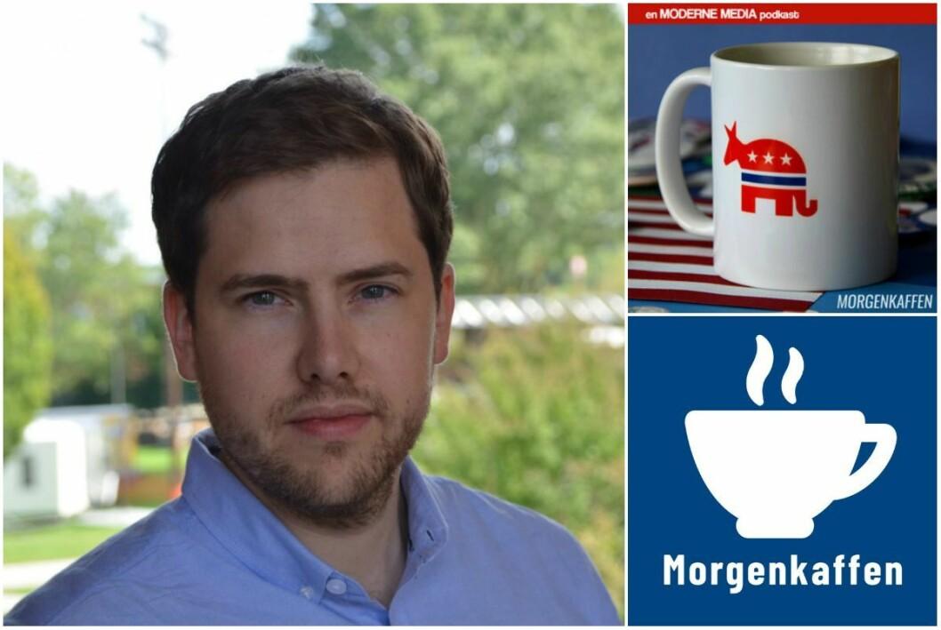 Are Tågvold Flaten, redaktør i  Amerikansk Politikk. Oppe til høgre er hans eigen podkast, og Finansavisen nede til høgre.