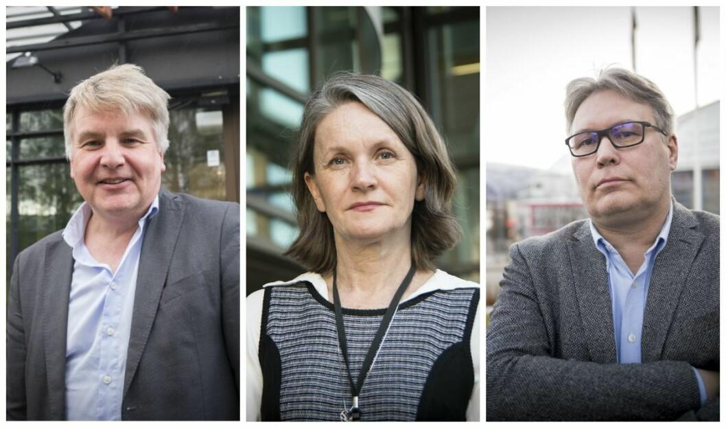 Sjefredaktør Erik H. Sønstelie i OA, politisk redaktør Hanne Skartveit i VG og politisk redaktør Skjalg Fjellheim i Nordlys.
