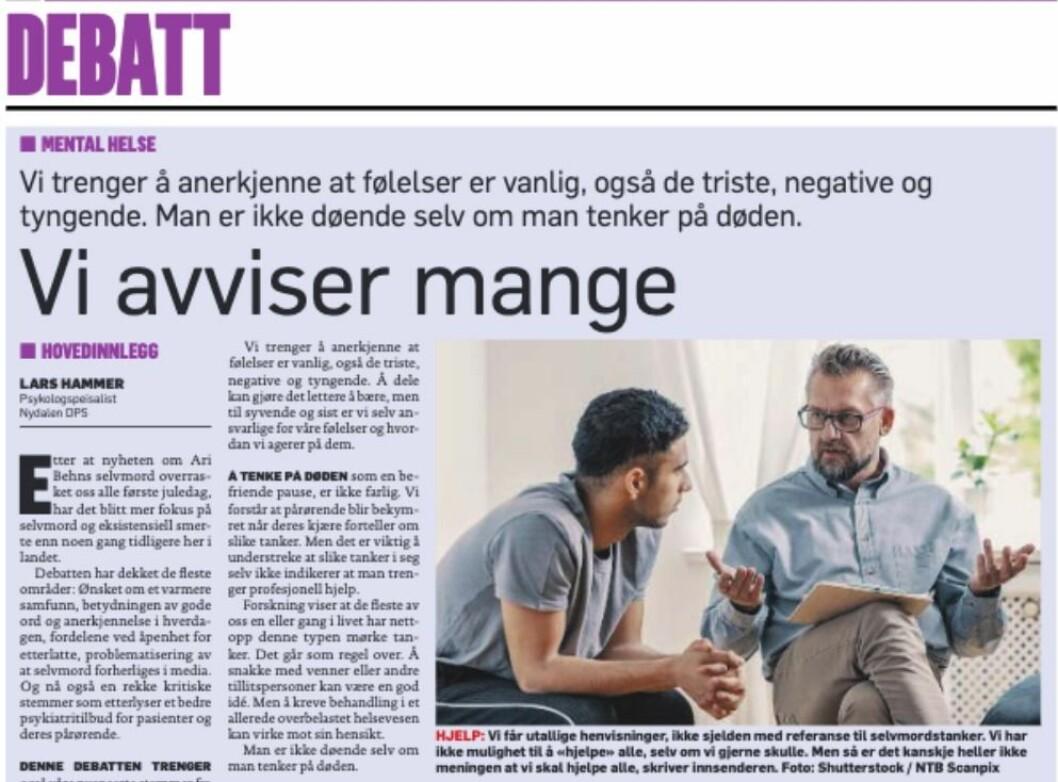 Lesarinnlegg i Dagbladet av «Lars Hammer, psykologspeisalist Nydalen DPS».