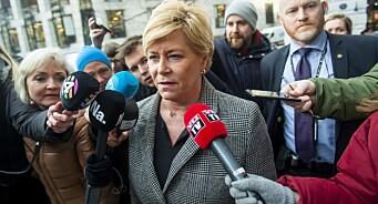 Siv Jensen mener Aftenposten fremskyndet Frp-exiten: – Mediene var så ivrige etter å publisere