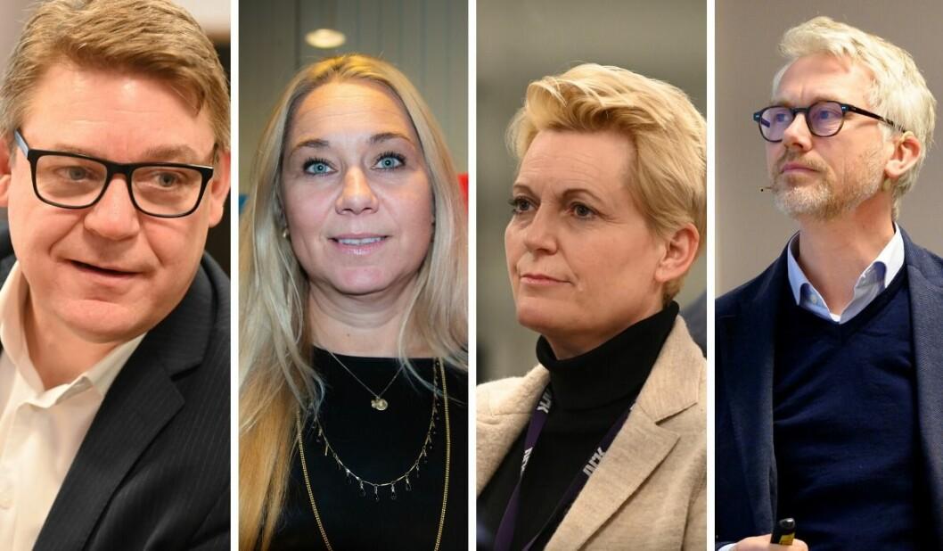 Kenneth Andresen i NENT, Tine Austvoll Jensen i Discovery, Vibeke Fürst Haugen i NRK og Olav T. Sandnes i TV 2 forteller om hvordan de jobber mot seksuell trakassering.