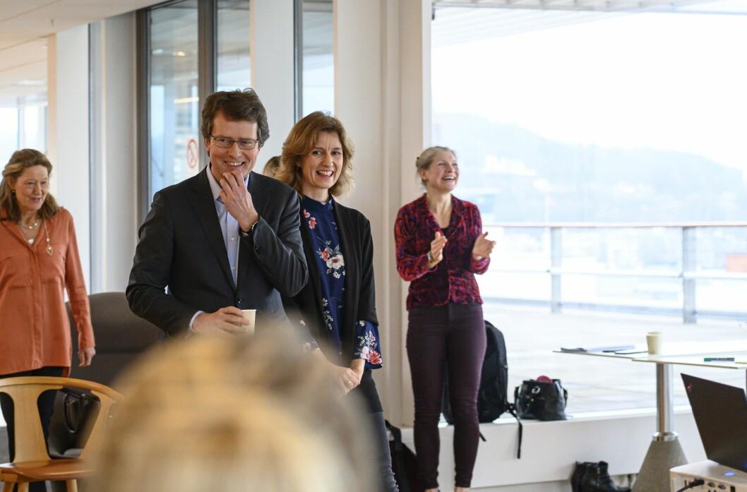 Marianne Johansen er redaksjonssjef økonomi- og politikkavdelingen i NRK. Hun har fått Per Axel Koch, konsernsjef, Polaris Media som mentor.