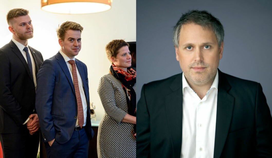 Statssekretær Mathias Fischer (V) i Klima- og miljødepartementet og Eirik Løkke, rådgiver i Civita.