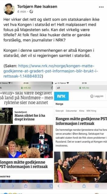 Torbjørn Røe Isaksen reagerte på NRKs nettsak.