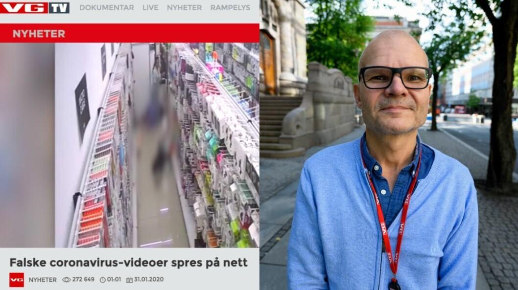 Skjermdump av VGTV-sak til venstre og redaktør Rolf Sønstelie til høgre.
