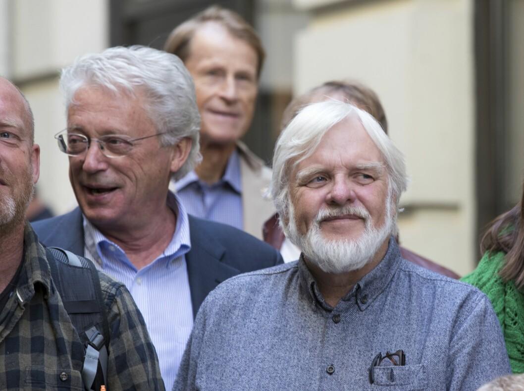 Tomm Kristiansen (til høyre) er nå blitt pensjonist og har forlatt NRK. Her er han avbildet sammen med Christian Borch da Cappelen Damm la fram sin høstliste i 2018.
