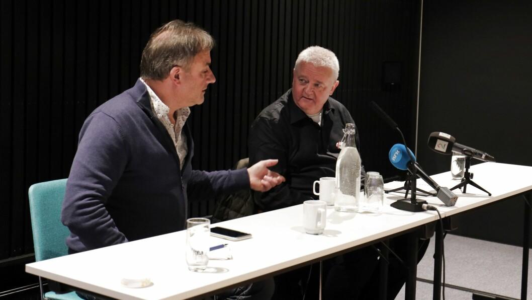 Frode Berg og PR-rådgjevar Sølve Stang.