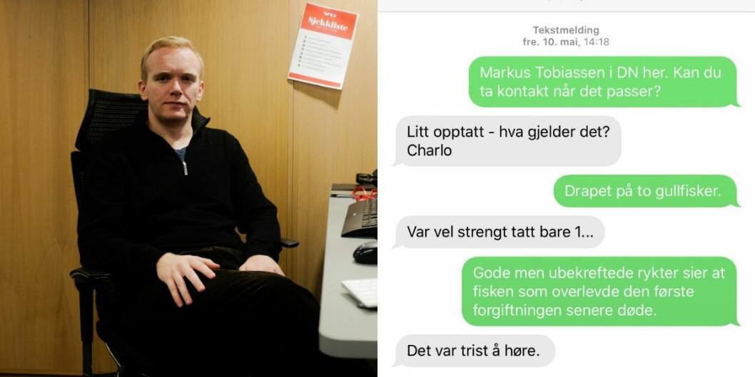 VG-journalist Markus Tobiassen og en sms-utveksling med underholdningsredaktør Charlo Halvorsen i NRK fra da Tobiassen jobbet i Dagens Næringsliv.