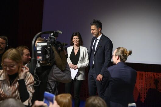 Ytringsfrihetskommisjonens leder Kjersti Løken Stavrum og kulturminister Abid Raja.