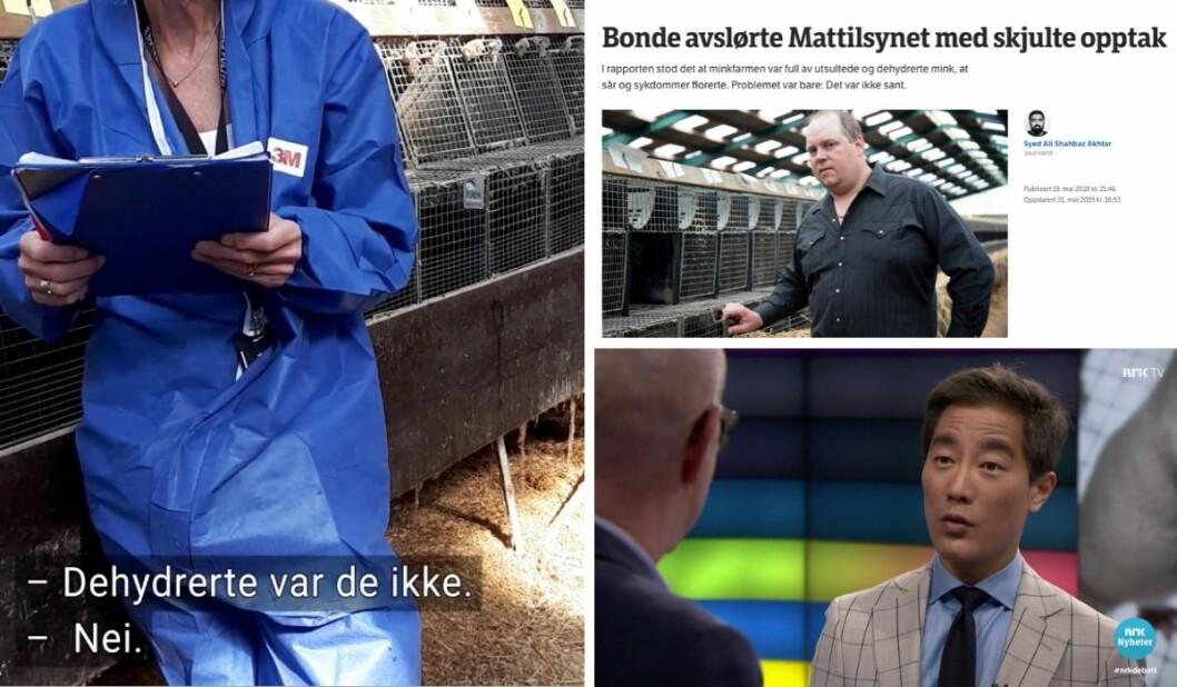 Dyrevernnemnda sin representant i møte med minkfarmbonde Per Olaf Lauvås, NRK Rogaland si Mattilsynet-avsløring og Debatten-programleiar Fredrik Solvang.