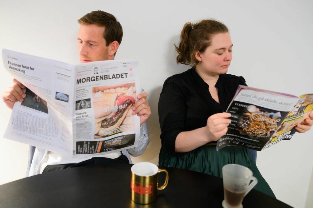 Medier24s quizmastere Ole Alexander Saue og Eira Lie jor.