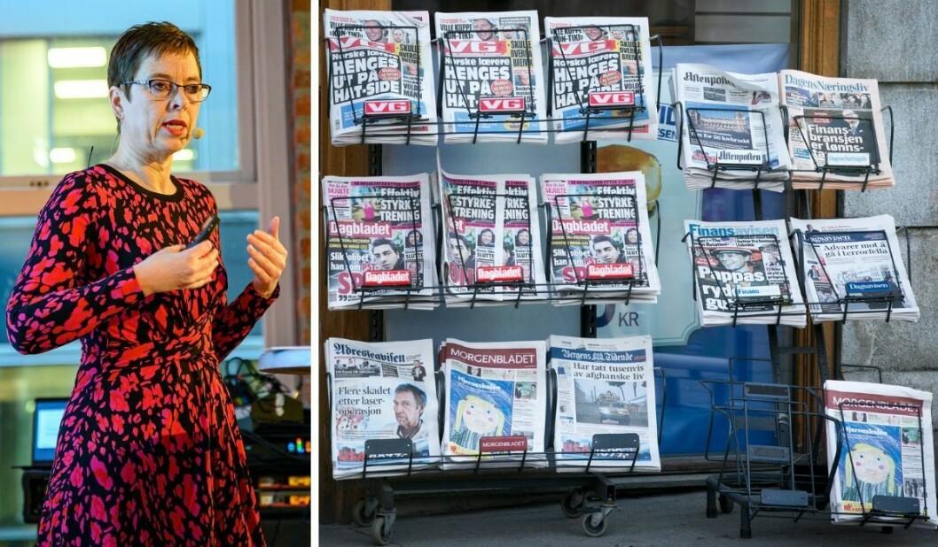 Direktør Mari Velsand og Medietilsynet offentliggjorde tirsdag hvilke mediehus som får pressestøtte.