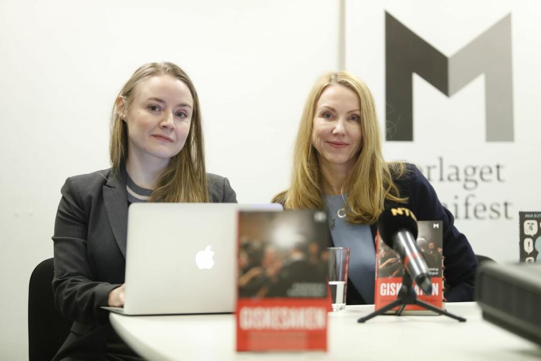 Førstelektor Anja Sletteland og professor Kristin Skare Orgeret (t.v.) presenterer boka «Giskesaken og hvordan vi får #metoo tilbake på sporet» på en pressekonferanse tirsdag.