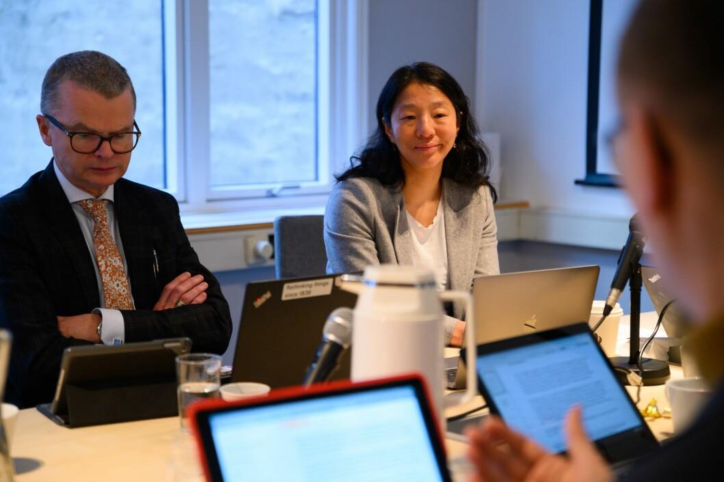 Arkivfoto: Lars Helle og Anne Weider Aasen under PFU-møtet 26. februar.