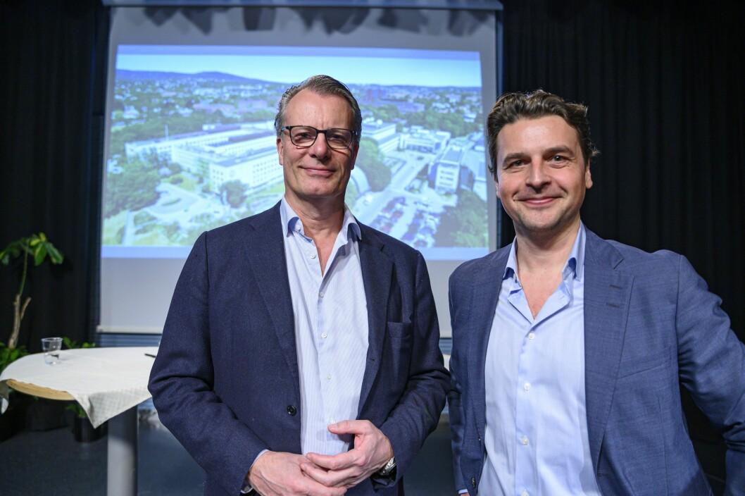 Ferds styreleder Johan H. Andresen (til venstre) og konsernsjef Morten Borge gleder seg til å videreutvikle NRK-tomten på Marienlyst.