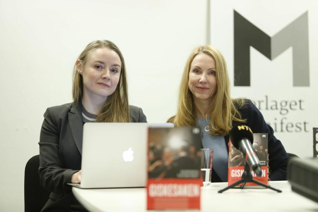 Førstelektor Anja Sletteland og professor Kristin Skare Orgeret presenterer boka «Giskesaken og hvordan vi får #metoo tilbake på sporet» på en pressekonferanse tirsdag. Foto: Ole Berg-Rusten / NTB scanpix